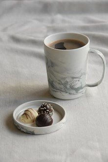Marbled Porcelain Mug and Coaster