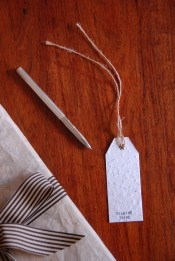 Gift tag with seeds imbedded