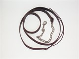 BROWN LEATHER LEAD WITH NICKEL PLATE CHAIN ATTACHED
