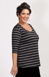 FINAL SALE - Weyre - dove stripe relaxed scoop top