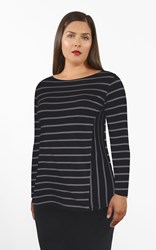 SALE - Weyre - spliced stripe relaxed boat neck top