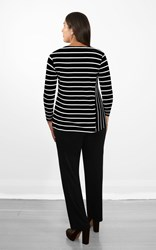FINAL SALE - Weyre - spliced stripe relaxed boat neck top black & white