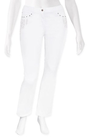 FINAL SALE - Olsen - white lisa straight leg tribal jean