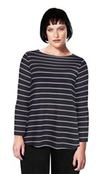 FINAL SALE - Weyre - relaxed boat neck bracelet sleeve top in dove stripe