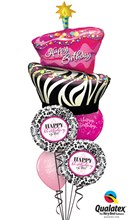 Birthday Funky Zebra striped cake  Bouquet