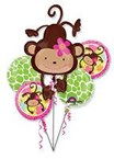 Cute Monkey Love Happy Birthday Party Girl Foil Balloon Bouquet