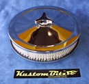 Chrome Air Cleaner 9 inch with a 2 inch element - Stromberg 2 barrel diameter 2' 5/8' inch neck