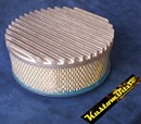 Air Cleaner 9 inch Flat Top Finned RAW [Shot Blasted] with 3 inch element - 80mm diameter neck suit Holden Gemini