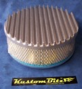 Air Cleaner 9 inch Flat Top Finned RAW [Shot Blasted] with 3 inch element - Stromberg single barrel diameter 2' 5/16' inch neck