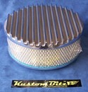 Air Cleaner 9 inch Flat Top Finned POLISHED with 3 inch element - Stromberg two barrel diameter 2' 5/8' inch neck