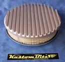 Air Cleaner 9 inch Flat Top Finned RAW [Shot blasted] with 2 inch element - Weber 2 barrel oval neck suit Ford Crossflow 6 cyl