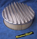Air Cleaner 14 inch Polished Raised Fins - Holley diameter 5' 1/8' inch neck & 3 inch tall element & Recessed base