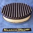 Air Cleaner 9 inch Flat Top Finned BLACK with 2 inch element - Holley diameter 5' 1/8' inch neck