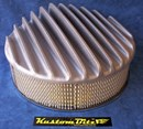 Air Cleaner 14 inch RAW [Shot Blasted] Raised Fins - Holley diameter 5' 1/8' inch neck & 3 inch tall element & Flat base