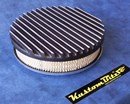 Air Cleaner 9 inch Flat Top Finned BLACK with 2 inch element - Weber 2 barrel oval neck suit Ford Crossflow 6 cyl