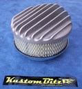 Air Cleaner 6 inch Raised Fins - Holley diameter 5' 1/8' inch neck - Shot blasted raw alloy finish