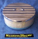 Air Cleaner 9 inch Ford Oval POLISHED with 3 inch element - Stromberg single barrel diameter 2' 5/16' inch neck