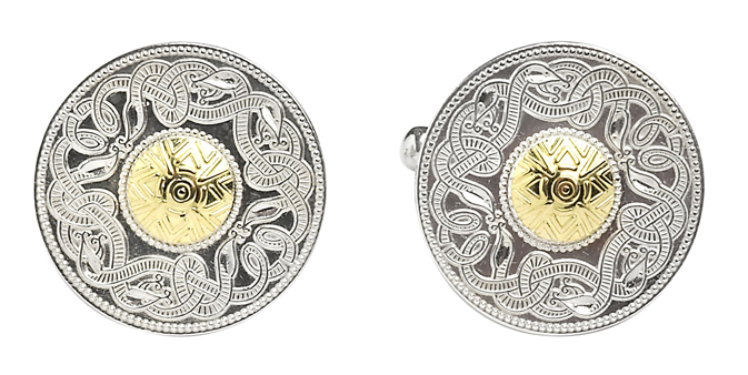 Warrior Shield Cufflinks, They are sterling silver with 18ct yellow gold beading.