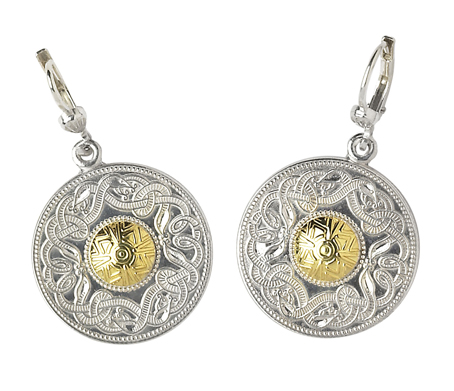 Warrior Shield Earrings,They are sterling silver with 18ct yellow gold beading.