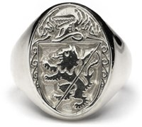Heraldic Ring - G300 - Silver,his grand mens ring is made to order in your family crest. It is Sterling Silver and made in Ireland