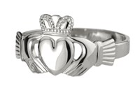 "Heavy Traditional White gold Claddagh Ring,This claddagh is a heavy weight ""Puffed heart"" version of the ring."