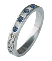 ID327 Eternity Diamonds and Saphires,This stunning celtic ring is one of the narrowest in our range.