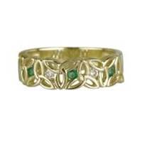 S2631 10ct Yellow Gold Trinity Knot Emerald stone & Cubic Zirconia Ring