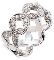 ID330 Forever - 7.5mm wide,Pictured in white gold, It has diamonds half way around the ring.