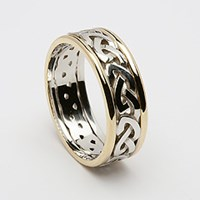 ID117 Passion- Mens,the knot intertwines with itself leaving neither beginning nor end. 14ct Yellow and White Gold.