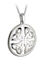 S44135 - Large celtic knot pendant,This stunning silver pendant shows 4 trinity knots.