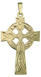 S8101 - Large Mens Cross,14ct yellow gold. This large celtic cross is detailed and heavy.