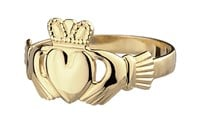S2529  - Gents Traditional Claddagh Ring, This claddagh is a flat heart version of the ring. Meaning the heart is not puffed at all.
