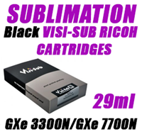 Black SUBLIMATION INK - VISI-SUB RICOH CARTRIDGES GXe 3300N/GXe 7700N 29ml