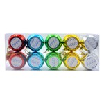 10 pack Metallic Coloured Christmas Baubles