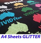 A4 Sheets GLITTER Vivid Flex Heat Transfer Vinyl