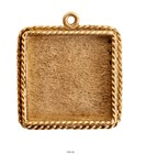 Ornate Large Pendant Square Single Loop Antique Gold