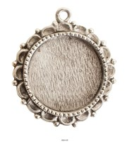 Ornate Large Pendant Circle Single Loop Antique Silver