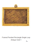 Framed Pendant Rectangle Single Loop  Antique Gold Packet of 2
