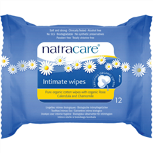 Natracare Intimate Wipes 100% Organic Cotton 12 Pack