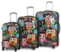 IT Luggage Light Expanding Hardshell 4 Wheel Spinner Set of 3 Cases Owls Print
