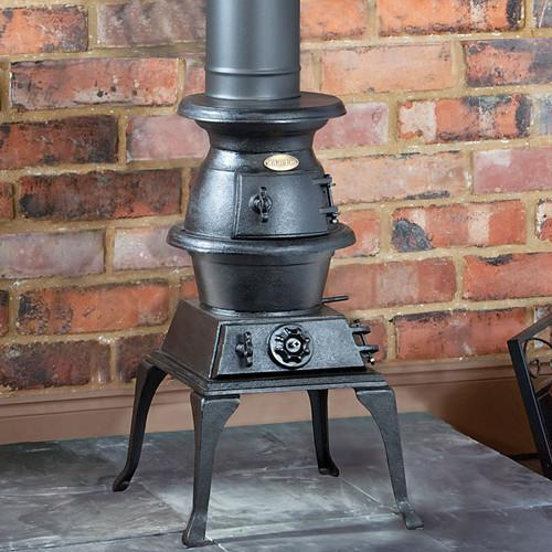 Clarke Potbelly Large 9kw Cast Iron Woodburning Stove Storage Heaters Electric Heaters