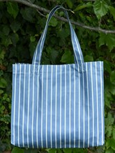 OILCLOTH RECTANGULAR SHOPPING TOTE - BLUE/WHITE STRIPED DESIGN
