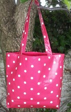 OILCLOTH TOTE BAG - RED WITH CREAM POLKA DOT DESIGN