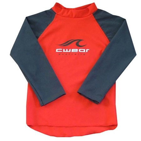 RED SWIM SHIRT with CARBON LONG SLEEVES - SIZE 0