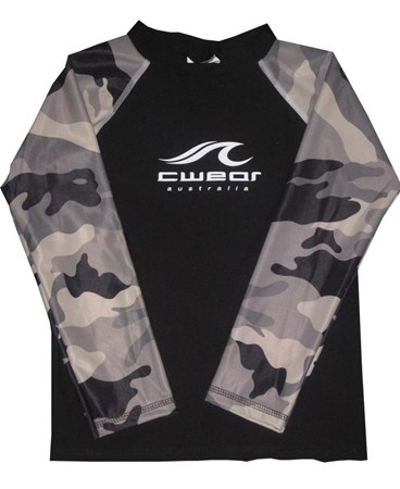 BLACK with CAMOUFLAGE LONG SLEEVE SWIM SHIRT - JUNIOR