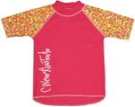 POP PINK SWIM SHIRT with FLORAL SLEEVES - YOUTH