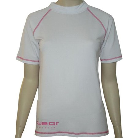 SALE - WHITE SHORT SLEEVE SWIM SHIRT with PINK STITCHING  - SMALL
