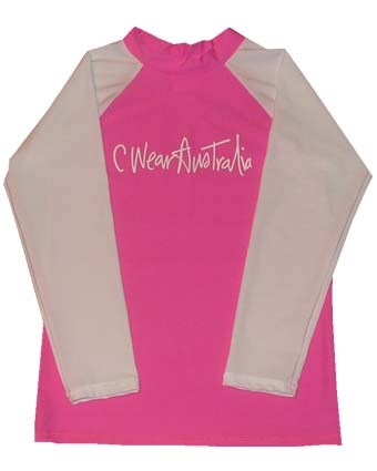 PINK SWIM SHIRT with WHITE LONG SLEEVES - XS