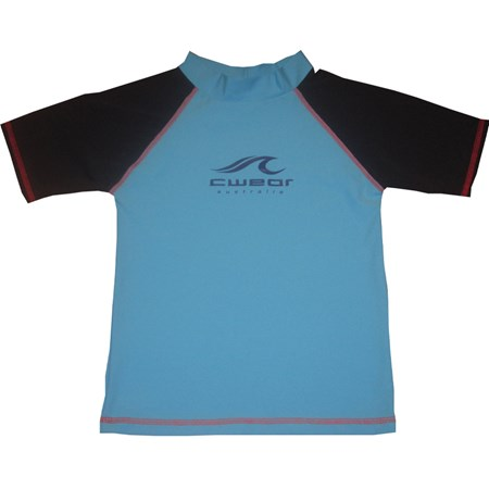 AQUA with NAVY SLEEVES SWIM SHIRT - JUNIOR