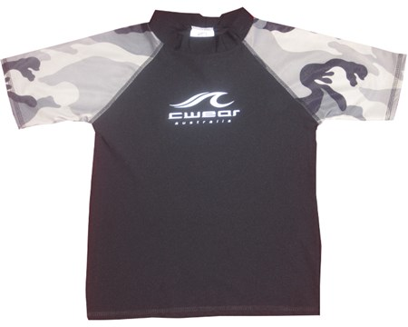 BLACK with CAMO SLEEVES SWIM SHIRT - SIZE 10 - 12